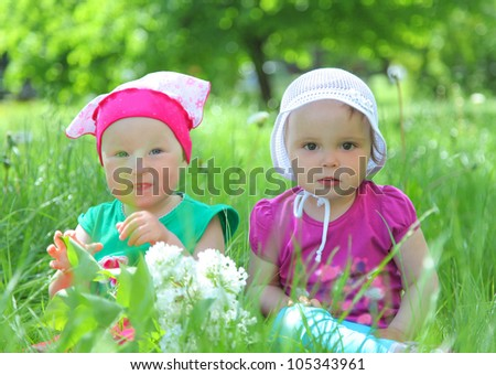 cute little girls in park
