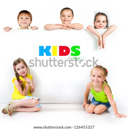 Cute little girls isolated on white background