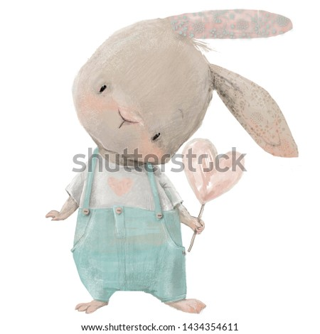 cute little hare character with heart in his hand