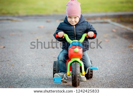 Cute little kid boy in warm autumn clothes having fun with tricycle. Active leisure with kids. Active leisure with kids outdoor.