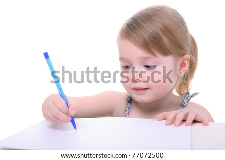 cute little kid girl learning and writing. preschool child. isolated on white