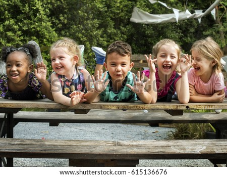 Cute little kids having fun together