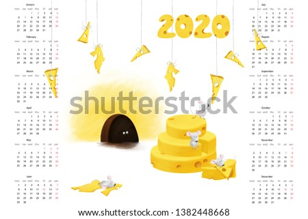 Cute little mouses, 2020 Calendar template, 12 Months. Yearly planner white isolated