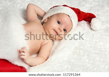 Cute little newborn  santa baby