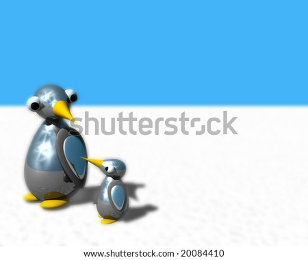 Cute little penguin family walking on snow.