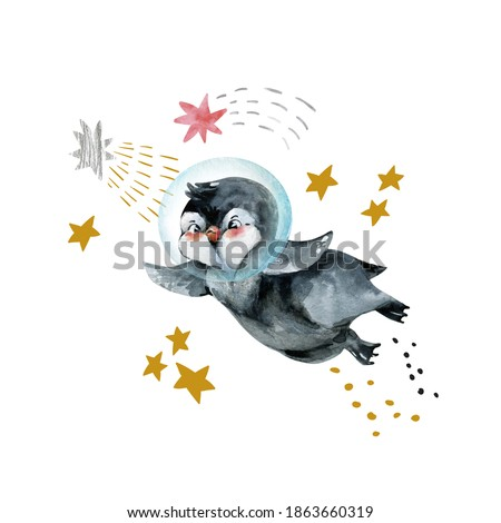 Cute little penguin illustration. Brave mascot animal with stars, planets in minimal style. Hand drawn watercolor artwork for nursery, baby shower, birthday party kids design Stockfoto ©