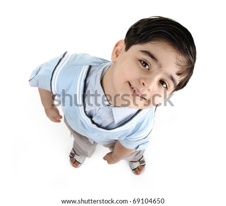 Cute little preschool boy isolated on white, mixed race, arabic white - african american. Saying: let me see :)