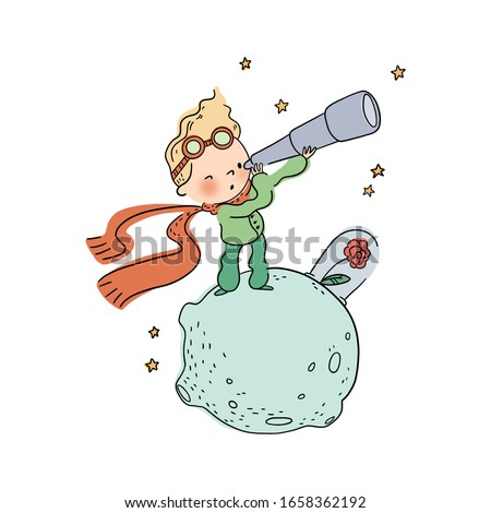 Cute  little prince watches space with a telescope ストックフォト ©