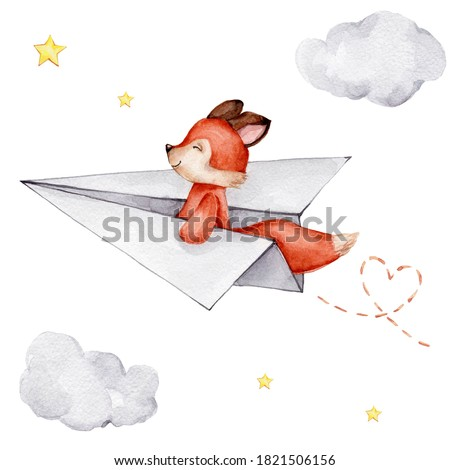 Cute little red fox flying on the paper airplane and clouds and stars; watercolor hand draw illustration; can be used for cards or kid posters; with white isolated background