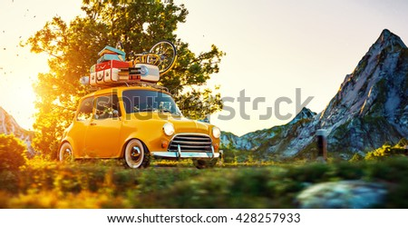 cute little retro car with...