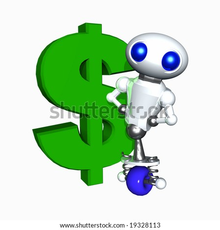 Cute little robot with a large green dollar sign.