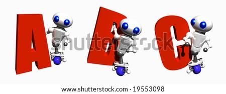 Cute little robots with the letters A, B and C.