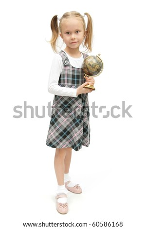 cute little schoolgirl with a globe in her hands studio shot on white