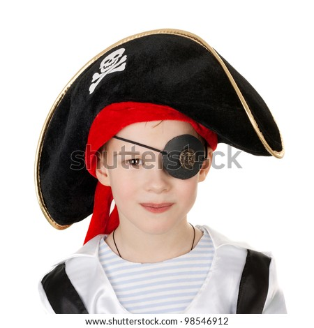 cute little smiling boy in the pirate costume