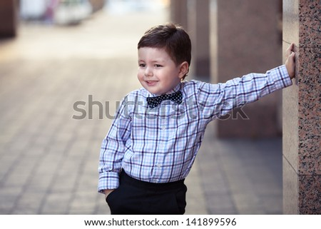 Cute Little Stylish Boy In Classic Style In The City Stock Photo 141899596 Shutterstock
