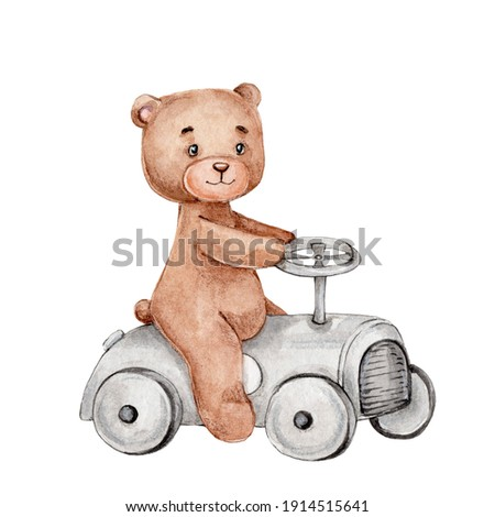 Cute little teddy bear on a car; watercolor hand drawn illustration; can be used for baby shower or postcards; with white isolated background Photo stock ©