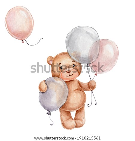 Cute little teddy bear with balloons; watercolor hand drawn illustration; can be used for baby shower or cards; with white isolated background
