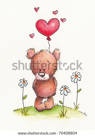 Cute little teddy bear with red heart balloon on white background