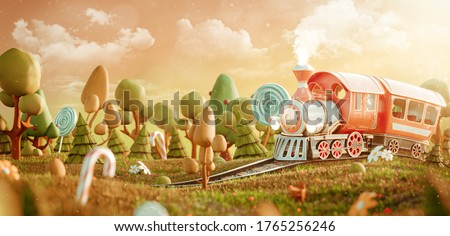 Cute little train in the magical forest. Unusual 3d illustration postcard. Childhood concept