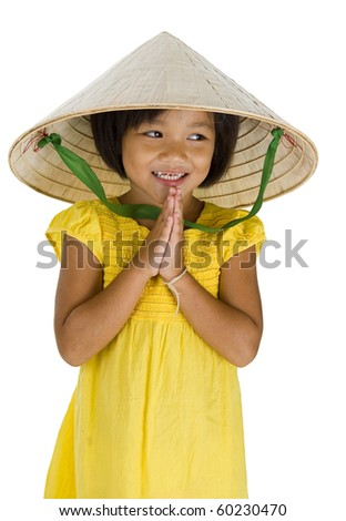 cute little uptown girl with vietnamese style hat and typical asian welcome expression, isolated on white background