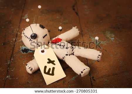 Cute Little Voodoo Doll with 'Ex' label  ストックフォト ©