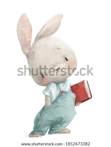 cute little white cartoon hare with red book