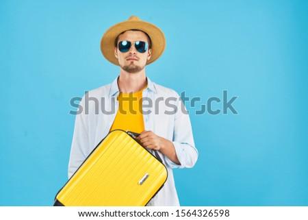 Cute male tourist having fun vacation fun vacation flight