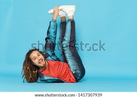 Cute man break dance art fitness style fashion style #1417307939