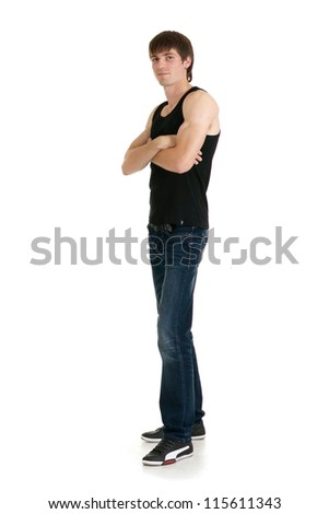 cute man in a T-shirt on a white background