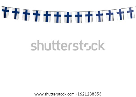 cute many Finland flags or banners hangs on rope isolated on white - any celebration flag 3d illustration
