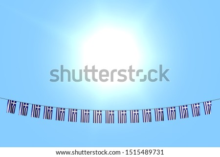 cute many Greece flags or banners hangs on string on blue sky background - any holiday flag 3d illustration