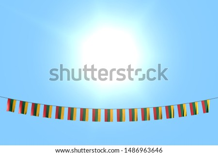 cute many Lithuania flags or banners hangs on string on blue sky background - any celebration flag 3d illustration