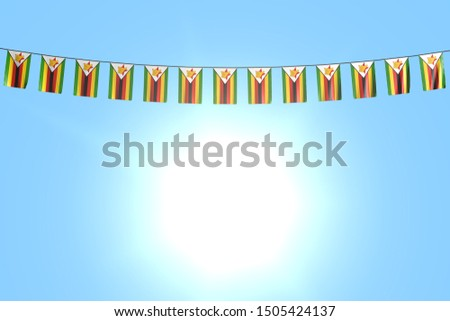 cute many Zimbabwe flags or banners hangs on string on blue sky background - any holiday flag 3d illustration