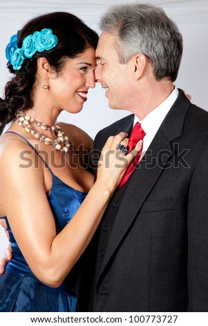 stock photo : Cute mature couple, man and woman, in formal dress and a