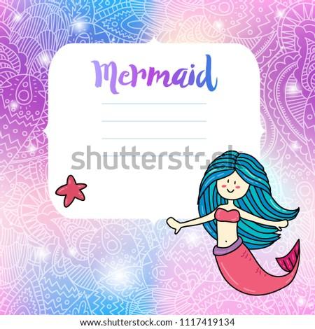 Stock Photo Cute mermaid invitation card notes print design. Illustration with magic unicorn color palette background