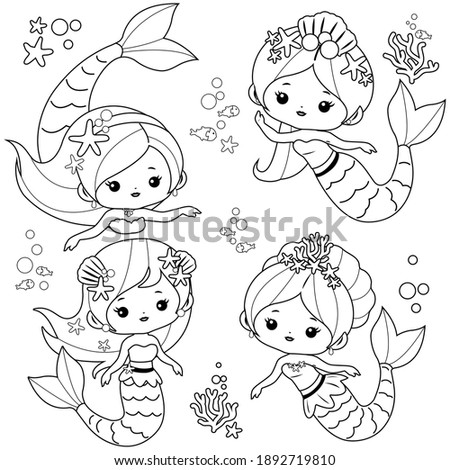 Cute mermaids set and sea animals. Black and white coloring page. Сток-фото ©