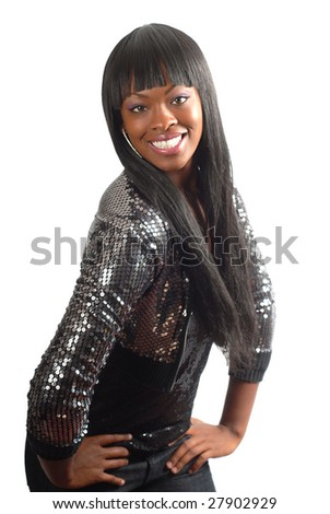 Cute model in a shiny sequin jacket smiling isolated on white