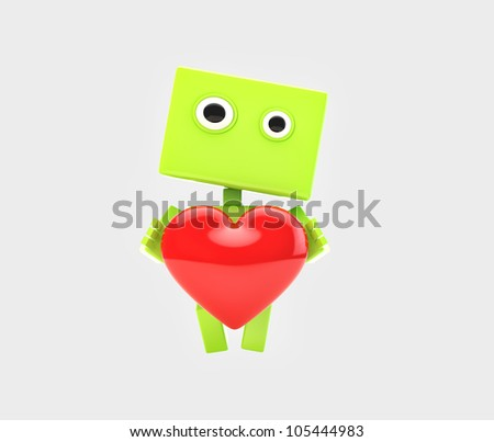 Cute modern robot give you bright red heart/Love confession