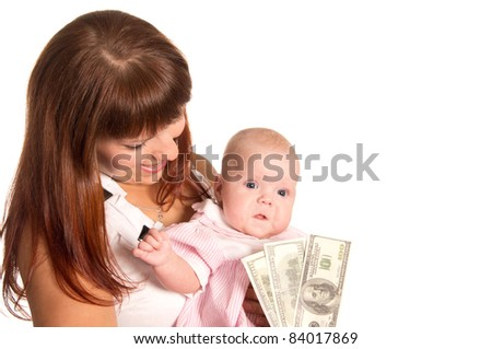 cute mom with her baby posing on white