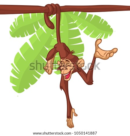 Cute Monkey Chimpanzee Hanging  On Wood Branch Flat Bright Color  Illustration In Fun Cartoon Style Design. Drawing image of a monkey outlined
