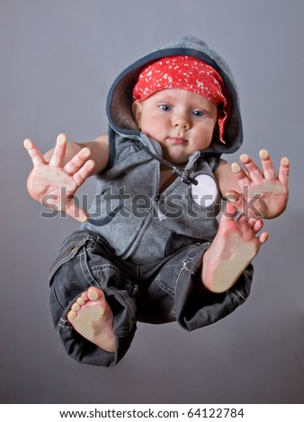 Cute 9 months baby boy in rap style