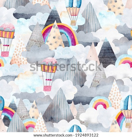 Cute mountain landscape with clouds, rainbows and balloons. Travel by hot air balloons over the mountains. Watercolor seamless pattern.