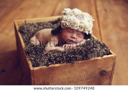 Cute Newborn baby boy - stock photo