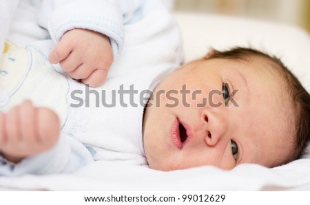 Cute newborn baby girl portrait.