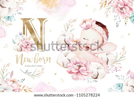 Cute newborn watercolor baby. New born child illustration girl, boy painting. Baby shower isolated birthday painting card. Handmade painting.