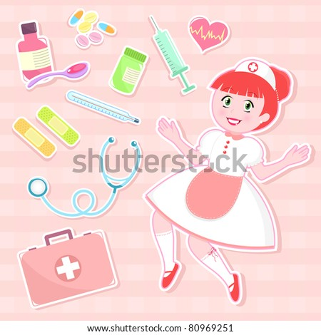 Cute Nursing Background Cute Nurse With Collection of