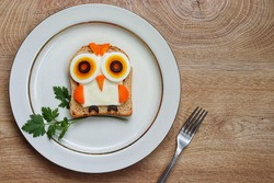 Cute owl made from whole wheat sliced bread,boiled eggs,cheese slice,carrots and black olives on plate with wooden table background.Art food idea for kids.Top view.Copy space