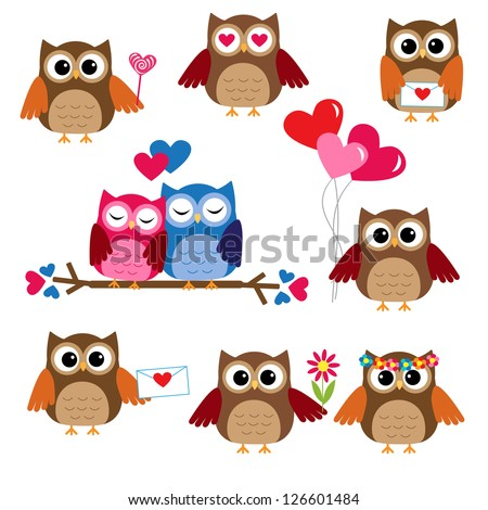 Cute owls for Valentine day. Raster version