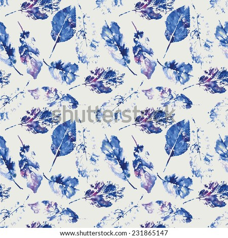 cute pattern of beautiful prints of leaves on grey background