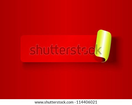 Cute peeling off label, red on red tones with metallic lime green backing and shadows, ready for your text.